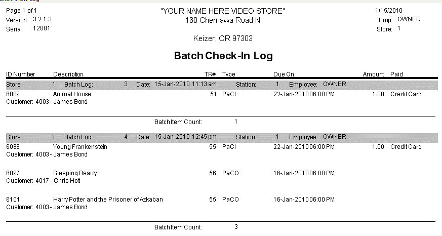 Batch Checkin Log